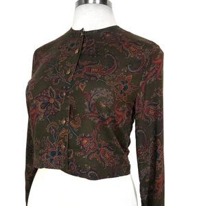 Ann Taylor | Paisley Cropped Green Jacket 6